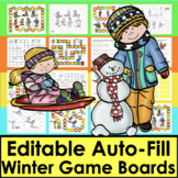 Winter Sight Word Games EDITABLE for ANY List Words or Letters Set 2