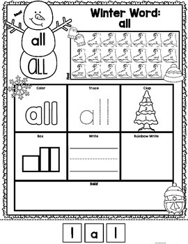 Sight Words {Primer} Winter Print and Go