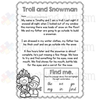 Winter Sight Words, Read and Highlight