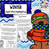 Winter Sight Words Worksheets Read and Highlight