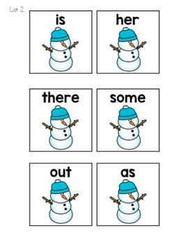 Winter Sight Words Roll, Say, Keep Game