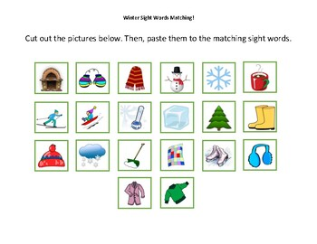Winter Sight Words [Vocabulary/Matching Activity Packet]