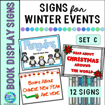 Book Display Signs for the Library or Classroom: Set C Winter