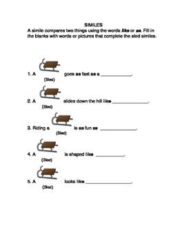Winter Simile Worksheet