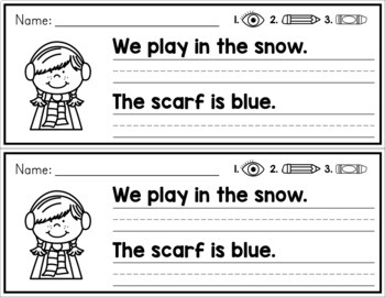 Winter Simple Sentence Practice Strips - No Prep