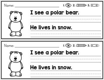 Winter Simple Sentence Practice Strips - No Prep