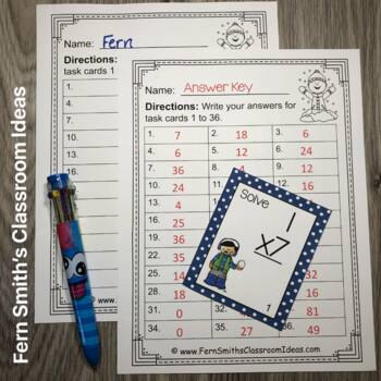 Winter Single Digit Multiplication Task Cards, Recording Sheets and Answer Keys
