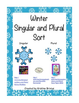 Winter Singular and Plural Noun Sort for Kindergarteners with -s and -es