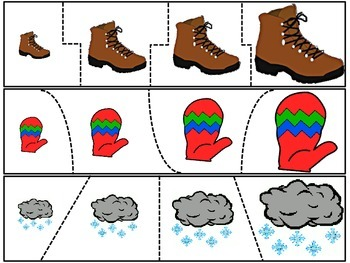 Winter Size Sequence Puzzles 18 Sets of 4 Picture Puzzles