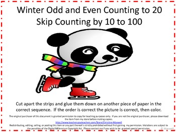 Winter Skip Counting Cut And Glue