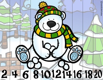 Winter Skip Counting Puzzles 2's, 5's and 10's