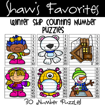 Winter Skip Counting Number Puzzles {30 Puzzles}