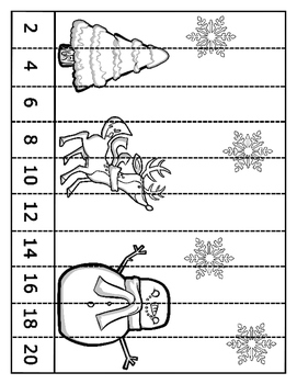 Winter Skip Counting Puzzles B&W