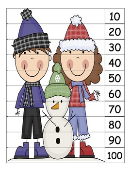 Winter Skip count by 10 puzzles