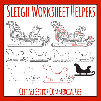 Winter Sleigh / Santa's Sleigh Worksheet Helpers Clip Art Set for Commercial Use