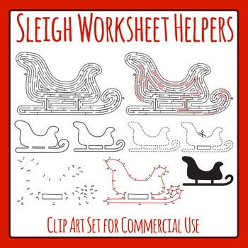 Winter Sleigh / Santa's Sleigh Worksheet Helpers Clip Art
