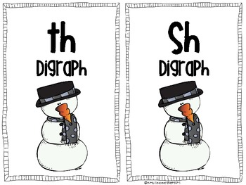 Winter Snoman  Digraphs Literacy Center Game including ch, th, ch, wh