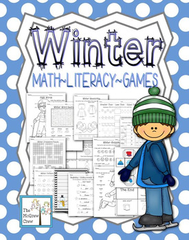 Winter Snow Activity Set K-1 Math Literacy Games Puzzles Writing