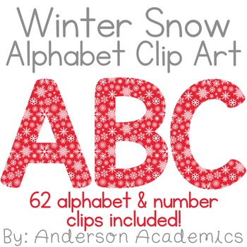Winter Snow Alphabet Clip Art