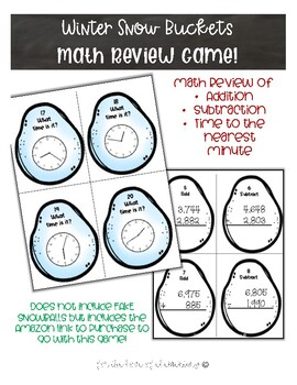 Winter Snow Buckets Math Review Game