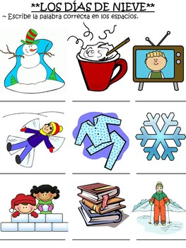 Winter Snow Day Activities and Blizzard Bag for Spanish Classes