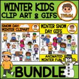 Winter Snow Day Kids l Clip Art & GIF Bundle l TWMM