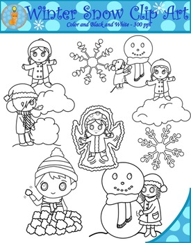 Winter Snow Fun Clipart (Blacklines included)