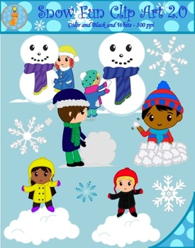 Winter Snow Fun Clipart - Button Eyes Edition (Blacklines included)
