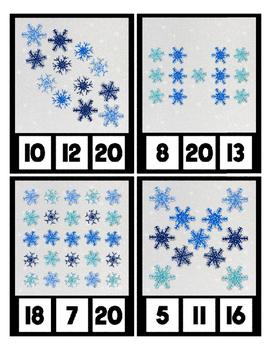 Winter Snow Glitter Counting Clip Cards Math Center ~ Preschool & Kindergarten