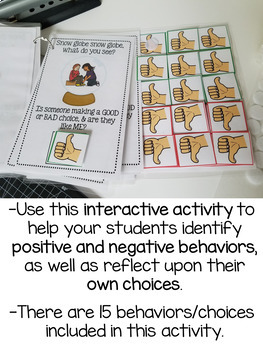Winter Snow Globe Activities for Good and Bad Choices - Multiple Versions