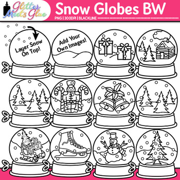 Winter Snow Globe Clip Art {Great for Worksheets & Handouts for Christmas} B&W