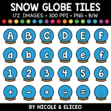 Winter Snow Globe Letter and Number Tiles Clipart