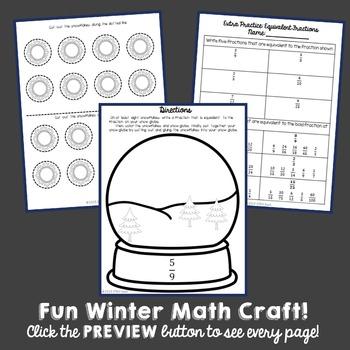 Winter Snow Globe Math Craft: Equivalent Fractions