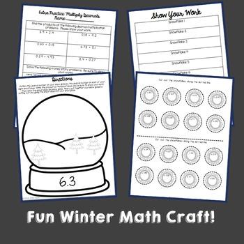 Winter Snow Globe Math Craft: Multiplying Decimals