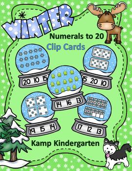 Winter Snow Globe Numerals to 20 Clip Card Math Centers