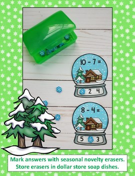 Winter Snow Globe Subtraction Clip Card Math Centers Minuends to 10