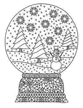Snow Globe Coloring Pages Worksheets Teaching Resources Tpt