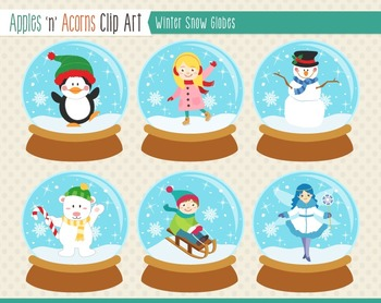 Winter Snow Globes Clip Art - color and outlines
