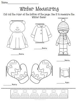 Winter Snow K-1 Math Activity Pack Set Money Measuring Estimation ETC