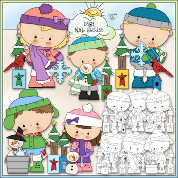 Winter Snow Kids Clip Art - Winter Clip Art - Kids Clip Art - CU Clip Art & B&W