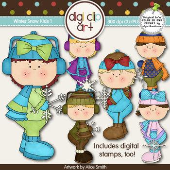 Winter Snow Kids 1-  Digi Clip Art/Digital Stamps - CU Clip Art