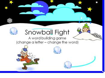 Winter Snowball Fight - Building CVC words by changing letters