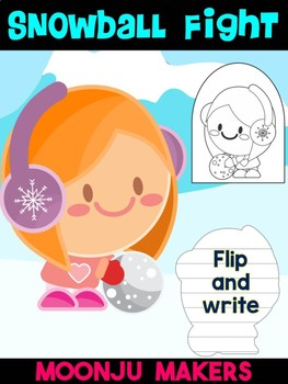 Winter Snowball Fight Kid C - Moonju Makers for Activity, Craft, Writing, Decor