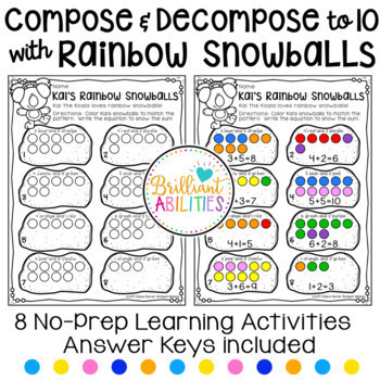 Winter Snowball Math Activities: Compose & Decompose Numbers within 10 BUNDLE