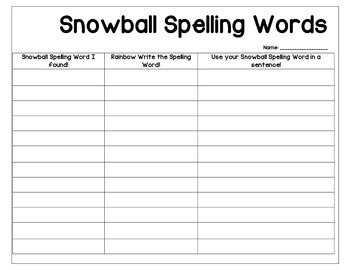 Winter Snowball Spelling Word Review Worksheet