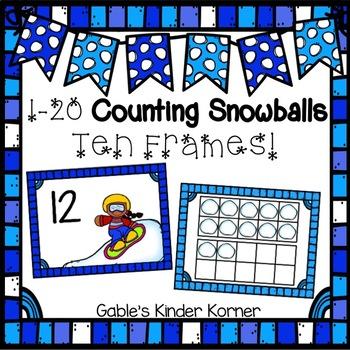 Winter *FREEBIE* Snowball Ten Frame Matching Activity