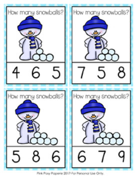 Winter Snowballs Count and Clip Cards Numbers 0-10