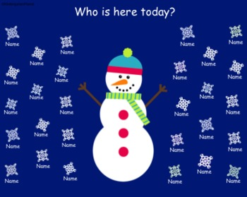 Winter Snowflake Attendance for the SMARTBoard
