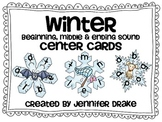 Winter Snowflake Beginning, Middle & Ending Sound Center Cards PLUS Printable!