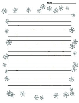 Winter Snowflake Border Lined Paper  Lined Pages For Writing